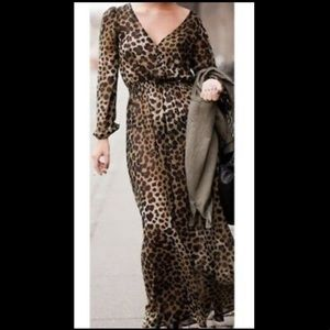 H&M leopard print long sleeve sheer maxi dress
